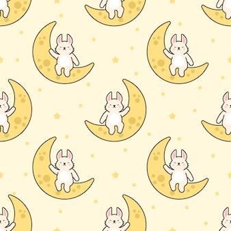 Lapin mignon assis sur la lune sans soudure de fond