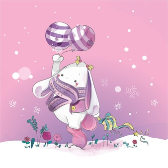 Lapin mignon avec le jour de Noël Blue Loon doodle aquarelle.