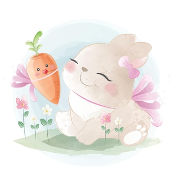 Lapin mignon avec un bébé carotte