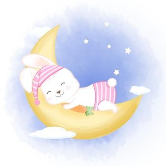 Lapin mignon bébé dormant sur la lune illustration