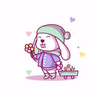 Lapin mignon bébé sur une illustration de jardin