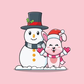 Lapin mignon avec bonhomme de neige le jour de noël illustration de dessin animé mignon de noël