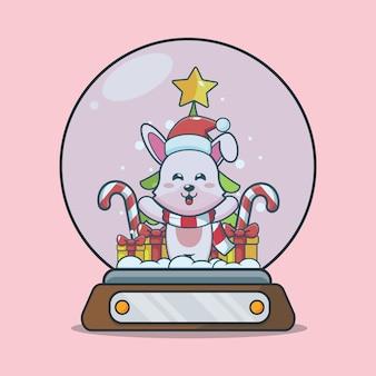 Lapin mignon en boule à neige illustration de dessin animé mignon de noël
