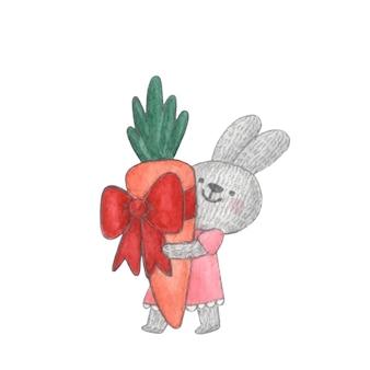 Lapin mignon de caractère d'aquarelle avec le cadeau de carotte dans ses mains