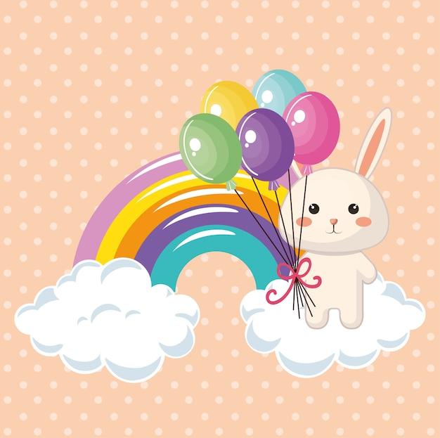 Lapin mignon avec carte d'anniversaire arc-en-ciel kawaii