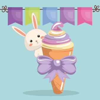 Lapin mignon avec carte d'anniversaire de crème glacée kawaii