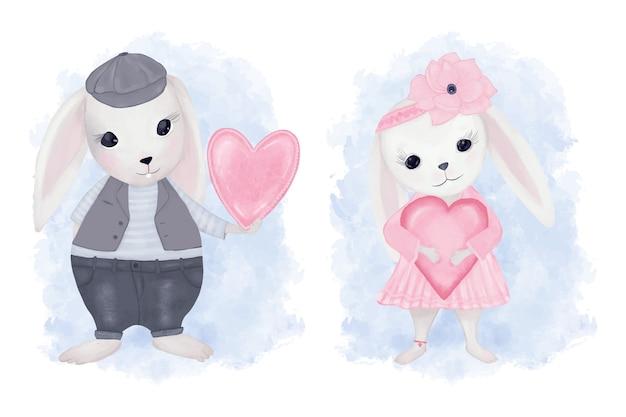 Lapin mignon avec coeur