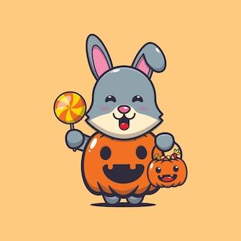 Lapin mignon avec costume de citrouille d'halloween illustration de dessin animé mignon halloween