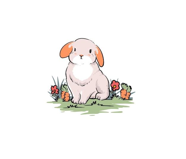 Lapin mignon dans le jardin de carottes