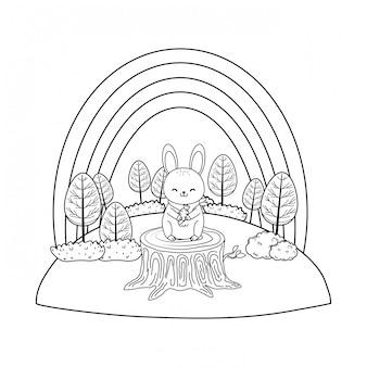 Lapin mignon dans le personnage de terrain boisé