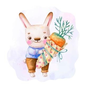 Lapin mignon dans des vêtements avec un gros cadeau de carotte