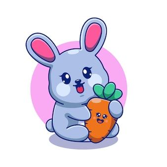 Lapin mignon avec dessin animé de carotte