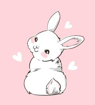 Lapin mignon dessiné à la main et coeur sur fond rose. lapin design imprimé. enfants imprimer sur t-shirt. illustration
