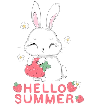 Lapin mignon dessiné à la main avec des fraises et des fleurs