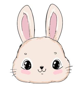 Lapin mignon dessiné à la main isolé sur fond blanc lapin de conception d'impression sur le vecteur de t-shirt