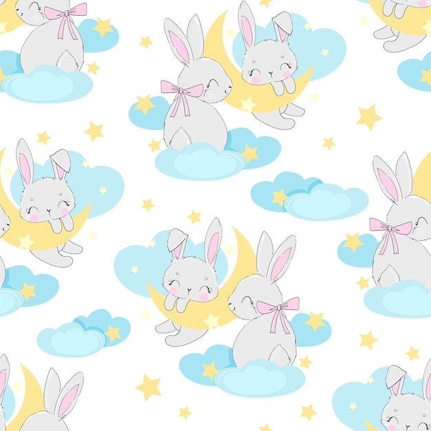 Lapin mignon dessiné main sur le motif de la lune sans soudure. conception d'impression pour pyjamas bébé, textiles.
