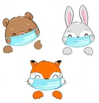 Lapin mignon dessiné à la main, renard, ours portant un masque. illustration, affiche pour l'hôpital pour enfants, médecine .. définir les animaux