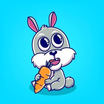 Lapin mignon dessiné main tenant l'illustration vectorielle de dessin animé de carotte