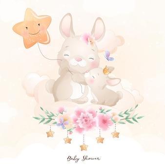 Lapin mignon doodle avec illustration florale