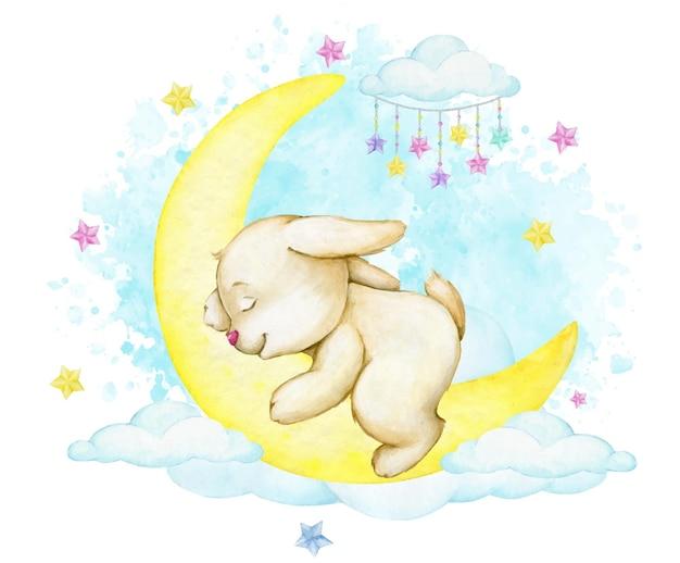 Lapin mignon, dormant sur la lune, sur fond bleu, nuages. un concept d'aquarelle