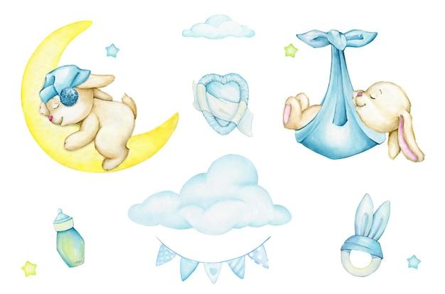 Lapin mignon, dormant, lune, nouveau-nés, jouets, nuages, guirlande, ensemble aquarelle, style cartoon.