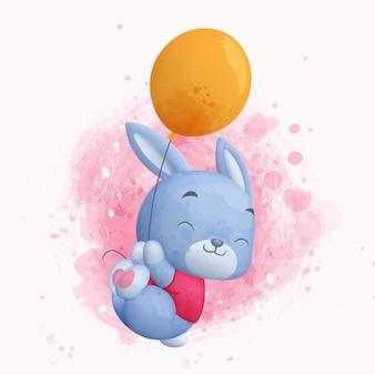 Lapin mignon flottant avec ballon. illustration aquarelle