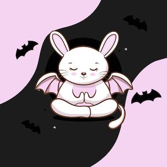 Lapin mignon avec halloween vecteur gratuit