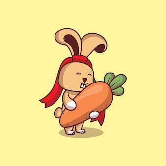 Lapin mignon avec illustration de dessin animé de carotte