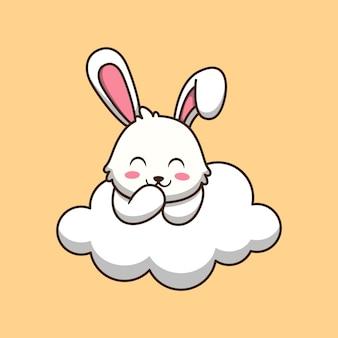 Lapin mignon sur l'illustration de dessin animé de nuage