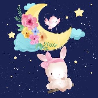 Lapin mignon jouant dans la lune