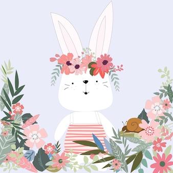 Lapin mignon lapin en dessin animé de jardin fleuri