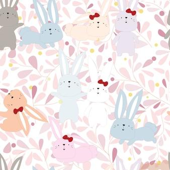 Lapin mignon lapin en modèle sans couture de fleur