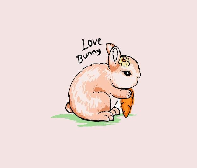 Lapin mignon mangeant l'aquarelle de carottes