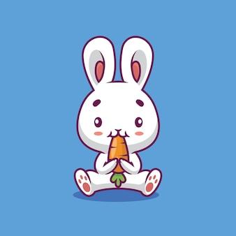 Lapin mignon mangeant une illustration de dessin animé de carotte