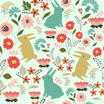 Lapin mignon avec motif de fleurs