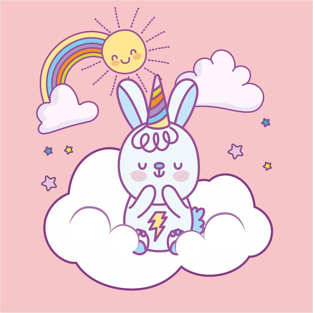 Lapin mignon sur nuage