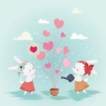 Lapin mignon plantant des plantes d'amour ensemble