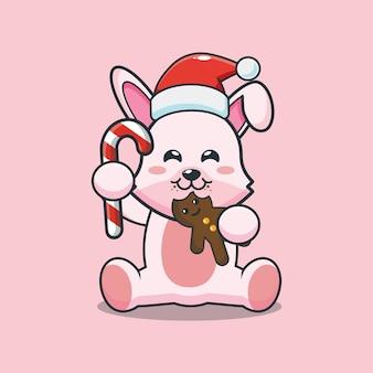 Lapin mignon portant un bonnet de noel et mangeant des biscuits de noël illustration de dessin animé mignon de noël