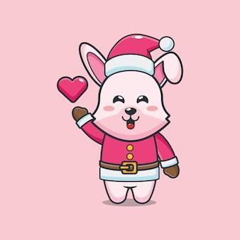 Lapin mignon portant le costume de père noël le jour de noël illustration de dessin animé mignon de noël