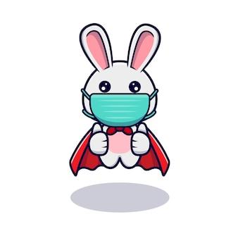 Lapin mignon portant un masque pour le virus de prévention