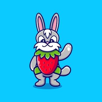 Lapin mignon porte un costume de fraise