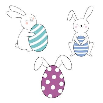 Lapin mignon pour le jour de pâques joyeuses pâques illustration vectorielle dessinés