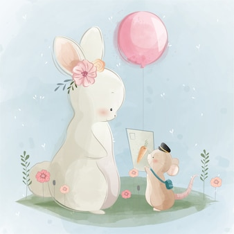 Un lapin mignon recevant une lettre