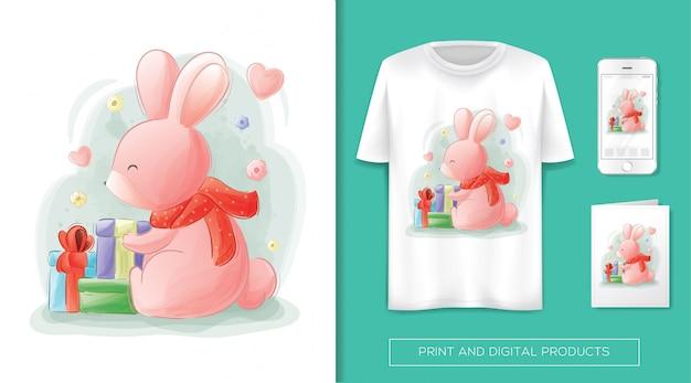 Un lapin mignon reçoit un cadeau