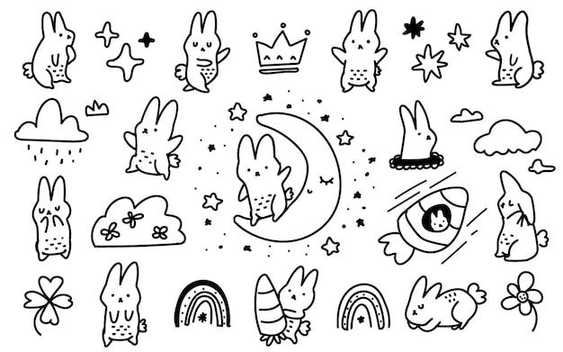 Lapin mignon de style scandinave, lune, carotte doodle illustration dessinée à la main