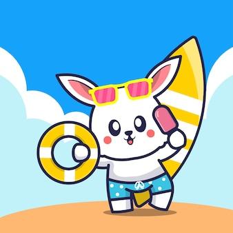 Lapin mignon tenant anneau de bain de crème glacée et illustration de dessin animé de planche de surf