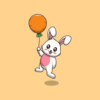 Lapin mignon tenant illustration de dessin animé de ballon