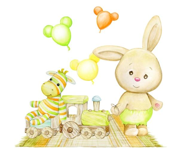 Lapin mignon, train en bois, zèbre, ballons, tapis. aquarelle