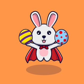 Lapin mignon volant avec des oeufs décoratifs pour le jour de pâques