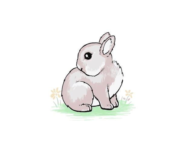 Lapin mignon vu dans l'aquarelle de jardin